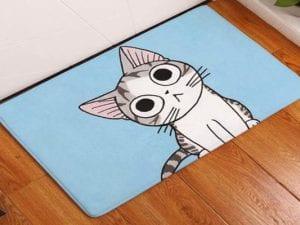 Baby Blue Cartoon Kitty Pet Rug