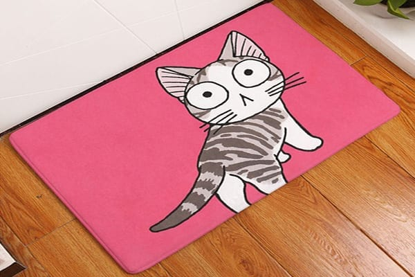 Pink Cartoon Kitty Pet Rug