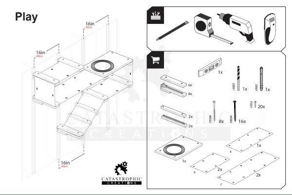 Play Cat Shelf and Hammock System