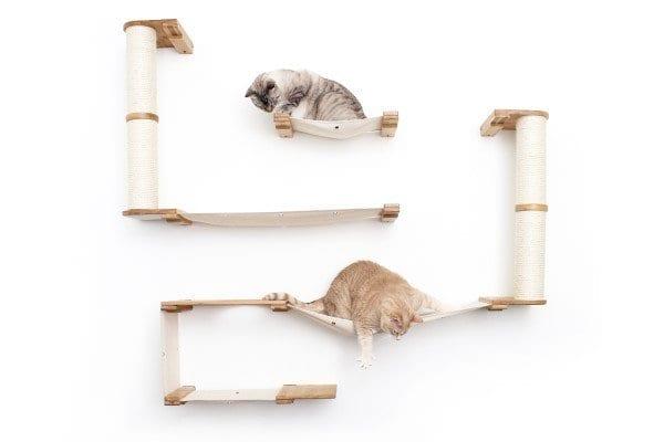 Roman Cat Shelf with Dual Scratching Posts