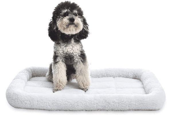AmazonBasics Faux-Sherpa Padded Bolster Dog Bed