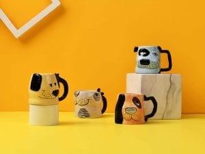Bico Cartoon Dog Handcrafted Stoneware Ceramic 8oz Mugs, Set of 4