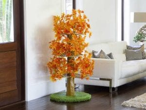 Luxury Cat Tree (Large) - Round Base with Fall Leaves