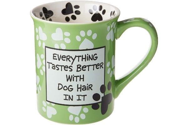 "Enesco Our Name is Mud ""Dog Hair, 16 oz. Stoneware Mug, 16 Ounces, Green"