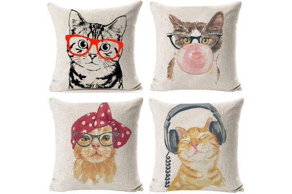 NYDECOR Set of 4 Cat-themed Throw Pillow Covers