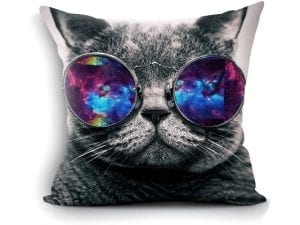 Galaxy Hipster Cat-Themed Throw Pillow Cover